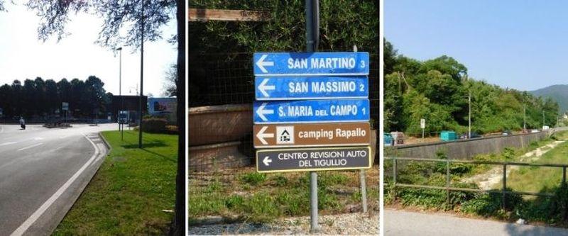 rotonda autostrada Rapallo e direzioni cammino